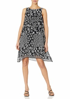 Max Studio Women's Scarf Print Sleeveless Shift Dress