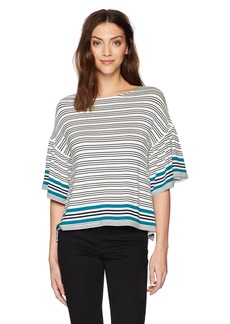 Max Studio Women's Short and Flair Sleeve Top Ivory/Navy/gem Split Panel Stripe S