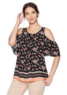 Max Studio Women's Short Sleeve Cold Shoulder Blouse Black/Coral Bouquet Burst