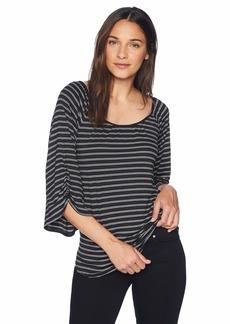 Max Studio Women's Sleeve Detail Feeder Stripe top Black/Ivory Dual Slim