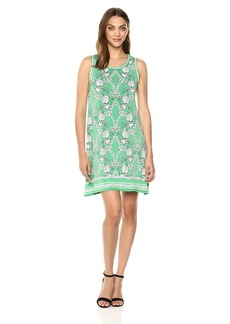 Max Studio Women's Sleeveles Trapeze Jersey Dress Green/Ivory Rosemead gate