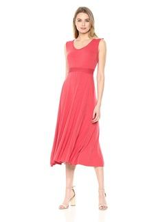 Max Studio Women's Sleeveless Fit and Flare Dress Heather red XL