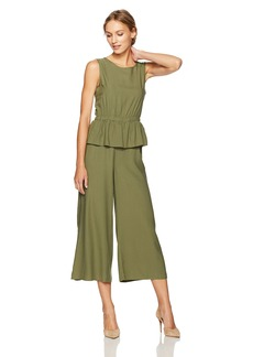 Max Studio Women's Sleeveless Jumpsuit with Peplum Top and Open Back Detail