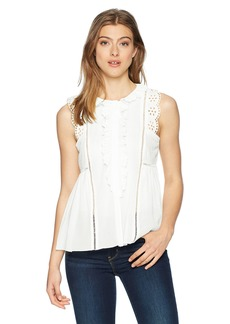 Max Studio Women's Sleeveless Lace Trimmed Ruffle Top  L