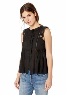 Max Studio Women's Sleeveless Lace Trimmed Ruffle Top  M