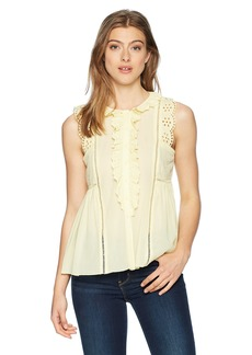 Max Studio Women's Sleeveless Lace Trimmed Ruffle Top  S