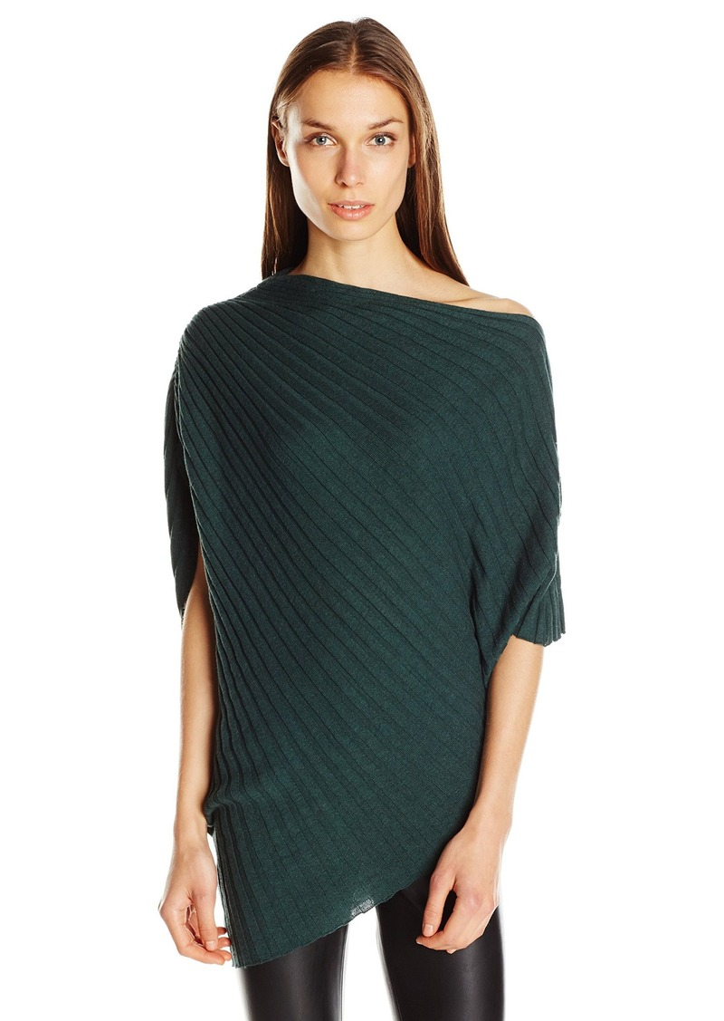 Max Studio Women's Sleeveless Rooshed Shoulder Poncho Sweater Top