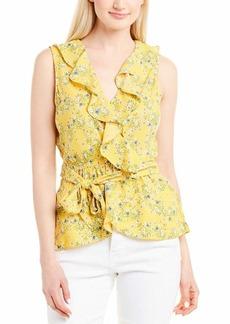 Max Studio Women's Sleeveless Ruffle Trim Print Blouse