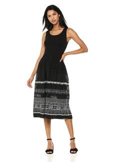 Max Studio Women's Sleeveless Smocked Jacquard Dress  L