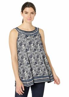 Max Studio Women's Sleevless Printed Matte Jersey Trapeze top