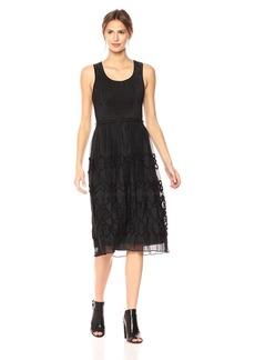 Max Studio Women's Smocked Jacquard Panel Dress  S