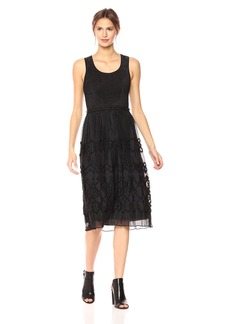 Max Studio Women's Smocked Jacquard Panel Dress  XS