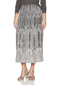 Max Studio Women's Smocked Jacquard Skirt  L