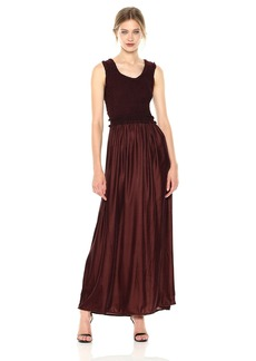 Max Studio Women's Smocked Top Sleeveless Dress with Velvet Bodice