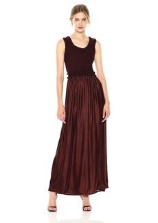 Max Studio Women's Smocked Top Sleeveless Dress With Velvet Bodice