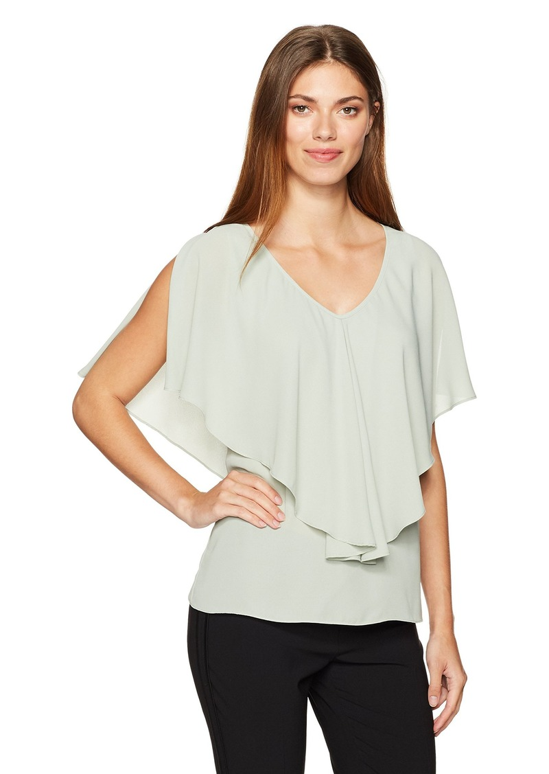 Max Studio Women's Solid Blouse with Ruffle Detail sage