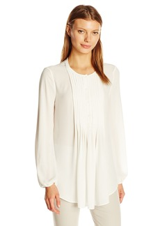 Max Studio Women's Solid Button Chest Pleated Top