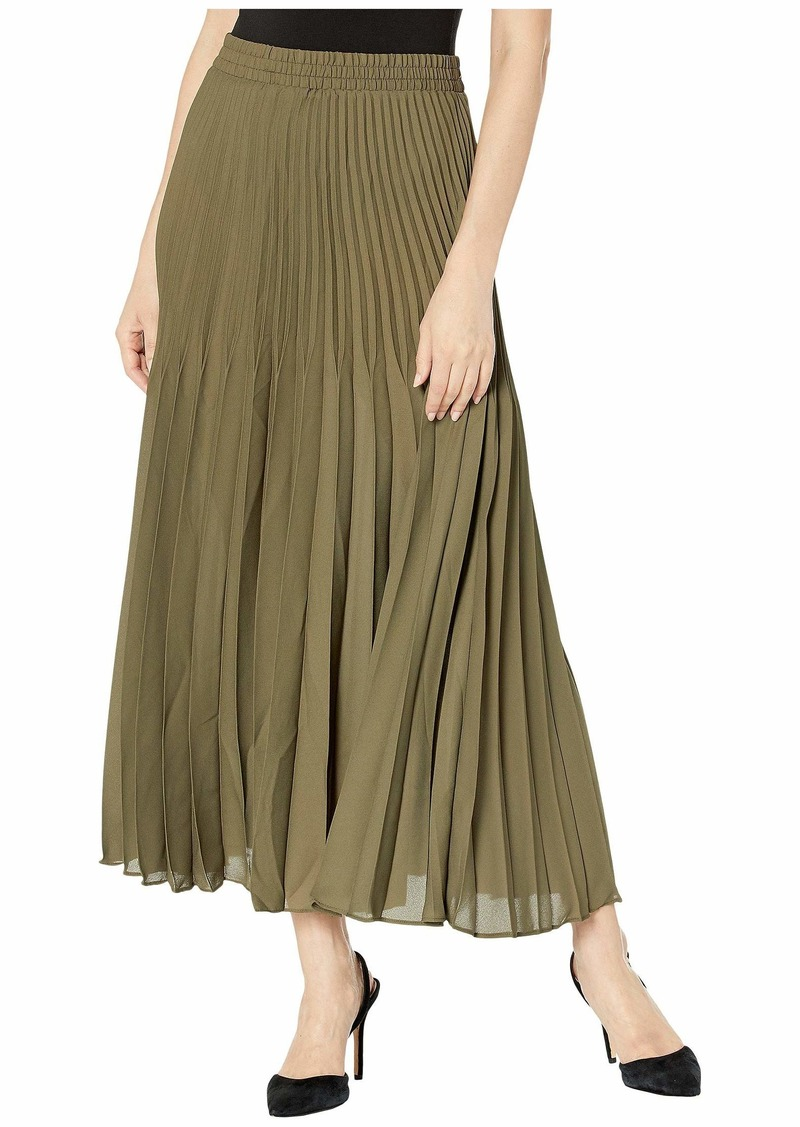 Max Studio Women's Solid Maxi Pleated Poly Crepe Skirt