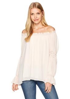 Max Studio Women's Solid Off The Shoulder Cinched Sleeve Top