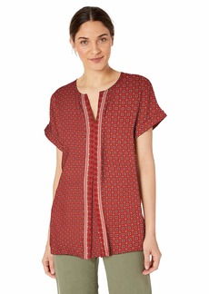 Max Studio Womens Split Front Printed Woven top Coral/Lipstick Clover Crossed Stripe Panel