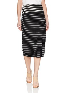 Max Studio Women's Stripe Jersey Pencil Skirt Black/Ivory Ribbon XS