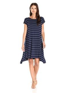 Max Studio Women's Stripe Jersey Sharkbite Dress