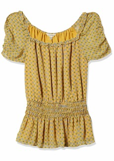 Max Studio Womens Waist Smocked Printed top Yellow/Sky Clover Crossed Stripe Panel
