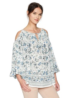 MAXSTUDIO Max Studio Women's Woven Printed Cold Shoulder Blouse Ivory/Blue Floral Branch PNL
