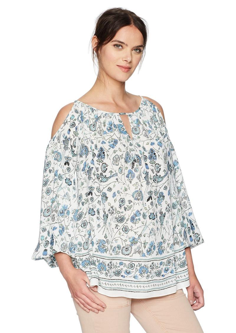 Max Studio Women's Woven Printed Cold Shoulder Blouse Ivory/Blue Floral Branch PNL