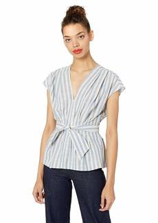 Max Studio Women's Yarn dye Stripe Woven top Natural/Blue