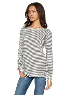 Max Studio Women's Long Sleeve French Terry Top Black/Ivory M
