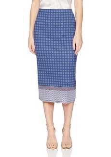 Max Studio Women's Printed Ponte Skirt Navy/Lipstick Multi Clover Stacked PNL M
