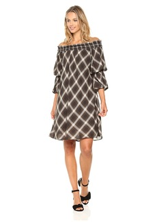 MAXSTUDIO Max Studio Women's Smocked Off The Shoulder Dress With Tiered Sleeves Olive/ECRU