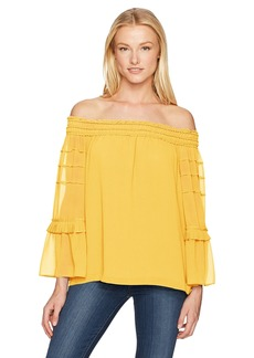 MAXSTUDIO Max Studio Women's Solid Off The Shoulder Bell Sleeve Top