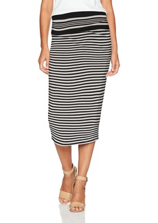 MAXSTUDIO Max Studio Women's Stripe Roll Over Midi Skirt