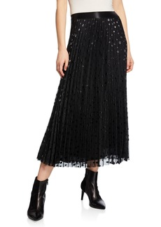 Max Studio Metallic Detail Pleated Maxi Skirt