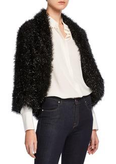 Max Studio Metallic Faux-Fur Open-Front Jacket