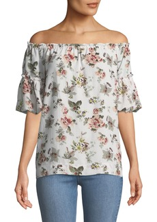 Max Studio Off-The-Shoulder Bubble-Sleeve Floral Blouse