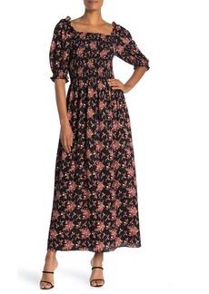 Max Studio Off-the-Shoulder Floral Smocked Dress