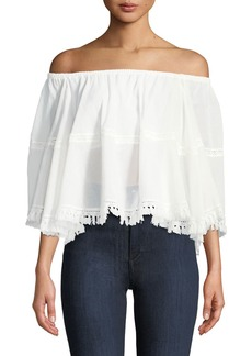 Max Studio Off-The-Shoulder Fringe-Trim Peasant Blouse