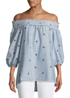 Off-The-Shoulder Rose-Embroidered Blouse