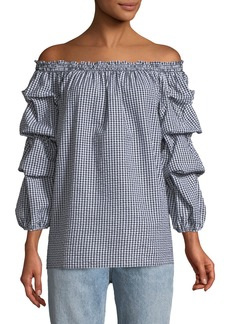 Max Studio Off-The-Shoulder Ruffle-Sleeve Seersucker Gingham Blouse