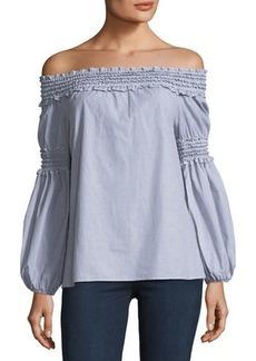 Off-the-Shoulder Smocked Shirt