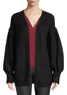 Max Studio Open-Front Bubble-Sleeve Cardigan