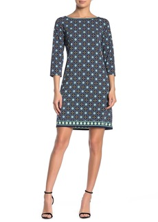 Max Studio Patterned 3/4 Length Sleeve Shift Dress