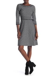 Max Studio Patterned 3/4 Sleeve Knit Dress