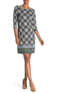 Max Studio Patterned 3/4 Sleeve Shift Dress