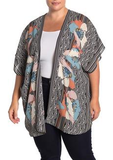 Max Studio Patterned Crepe Woven Kimono Cardigan (Plus Size)