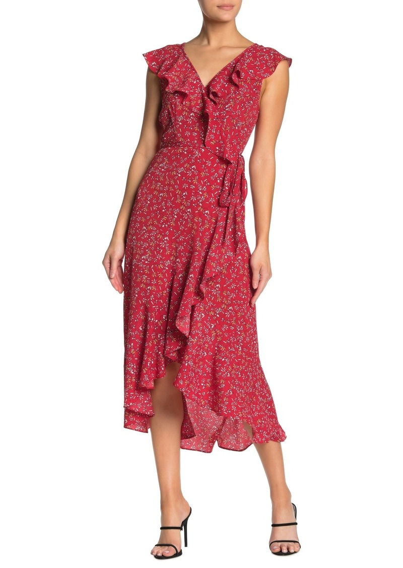 Max Studio Patterned Ruffle Wrap Midi Dress