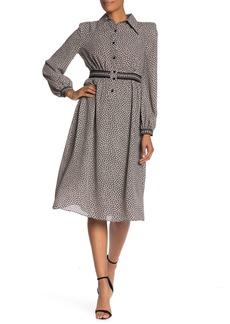 Max Studio Patterned Woven Midi Dress